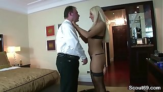 German old Man Fuck Hot Teen Hooker in Stockings for Money
