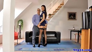 Young UK stewardess bounces on oldmans cock