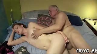 Young floozy sucks old pecker