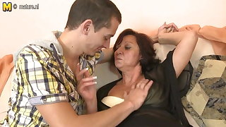 Hot grandmother fucking and sucking young cock