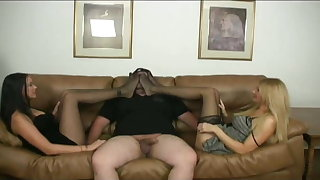 Mother and Daughter team together for a nylon footjob