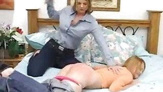 Strict Mom spanked her severely