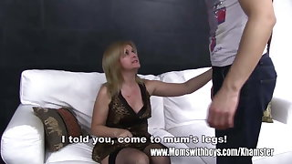 Mature Blonde Stepmom Ass Spanking Her Stepson