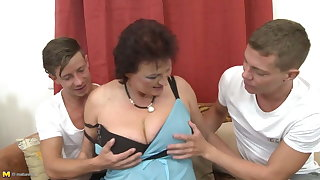 Mother suck and fuck two young sons