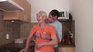 Viviana and Dieter skinny hairy granny in kitchen with Dieter