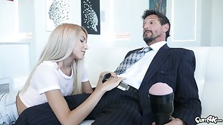 Naughty stepdaughter Hime Marie jerks lacking daddy's dick with a new flesh exposure