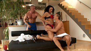 Vicky W adores to blow a dick while backup guy fucks her badly