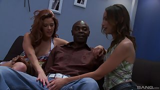 Black dude got surprised with a threesome unconnected with Trisha Rey together with Amber Rayne