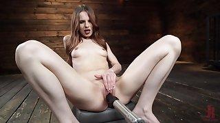 Long haired crude Jillian Janson masturbates her pussy up a vibrator