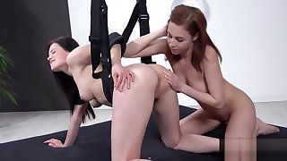 Fervent czech kittens gape their asses with anal plug and eyeless sex toys