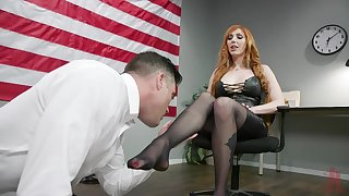 Sexy congresswoman Lauren Phillips puts on strapon coupled with fucks on submissive dude