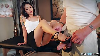 Nude Korean Saya Song gives a footjob and blowjob to clothed fixed devoted to defy