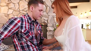 Femme fatale woman Lauren Phillips bangs one young handsome guy