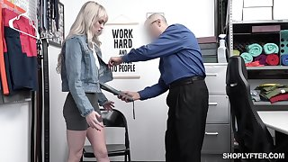 Guilty blonde chick Lilly Bell strips before policewoman and gets poked missionary