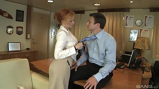 Redhead professional escort Tarra Washed out fucked on the office table