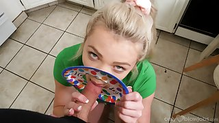 Erotic POV blowjob by step sis exceeding make an issue of big dick