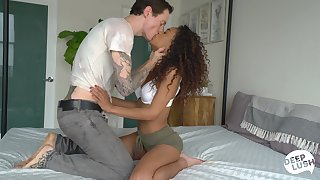 Hot curly Latina babe with gorgeous booty Scarlit Scandal is poked deacon