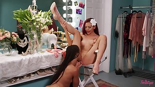 Dressing room of a female lesbian hookup with Kira Noir added to Sabina Rouge