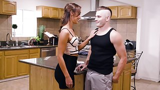 Fucking in the larder ends with a cumshot for Christy Love