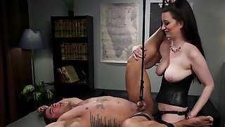 Busty domme pegging required man