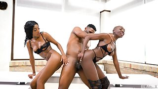 Strong hardcore sex for two ebony dolls on a BBC