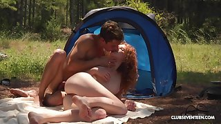 Ginger slut enjoys A- camping trip shacking up all day