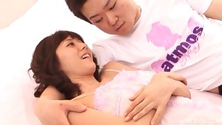 Asian chick Yuma Asami gives a blowjob and rides like a prostitute