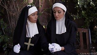 Debased nun Silvia Saige takes two hard dicks in her wet holes