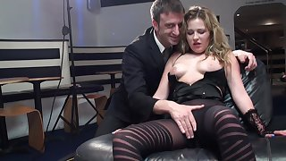 Blonde pornstar drops her panties to be fucked by a large dick