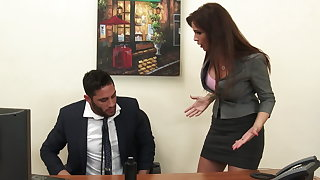 Morose milf boss Syren De Mer exploits employee for dick hd