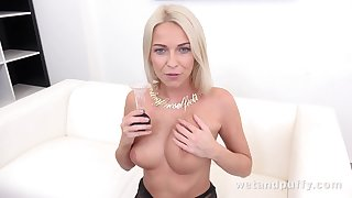 Carol Blonde in Seductive in Stockings at PuffyNetwork