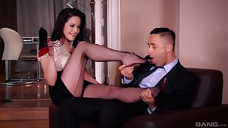 Foot fetish going to bed with desirable brunette secretary Dolly Diore