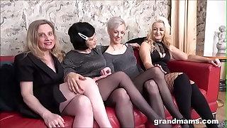 4 grandmams 1 young cock