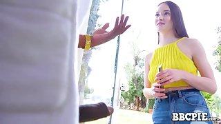 BBC neighbor bangs sweet looking teen near petite tits and skinny body Hazel Moore