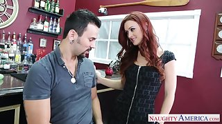 Snake-hipped redhead Karlie Montana has come and seduced clothes-horse for wild quickie
