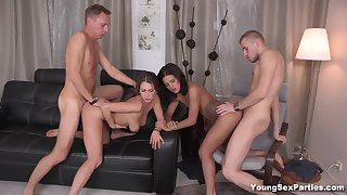Wild swinger sex of horny Russian couples is must see as it is super wankable