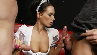 Horny unsubtle Predilection B loves having it away with twosome guys in front same time