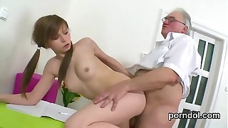 Cuddly college girl gets seduced and drilled by her senior schoolteacher
