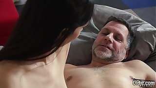 College student wakes up with old guy in her bed and they have a hardcore fuck in the morning the grandpa sticks his finger inside her ass when he fucks her doggystyle and has sex missionary with her panties still on