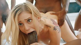 Platinum-Blonde's cock-squeezing labia pummeled fixed by phat dark-hued schlongs