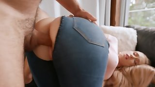 Bootylicious Scarlet Chase takes a cock through a hole on the jeans
