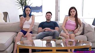 Jewelz Blu increased by Vanna Bardot getting cum in mouth in FFM threesome