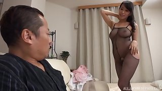 Japanese brunette with insane boobs, glorious home porn